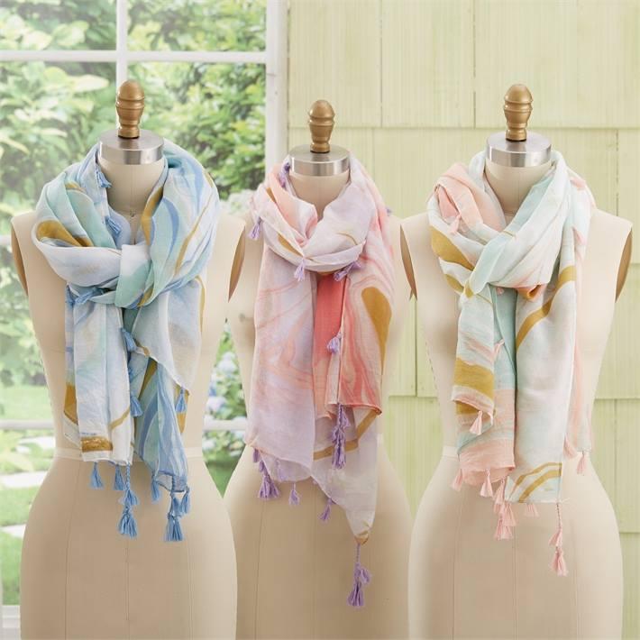 Marble wash scarfs